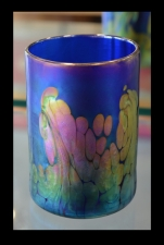 SBPAL Fundraiser Cobalt Blue Drinking Glass with 24k Gold Wave Design