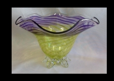 Green with Purple Bowl with Swirl Design