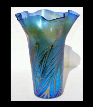 Iridescent Blue Vase With Threading Design By Saul Alcaraz Blown Glass