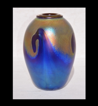 Iridescent Gold Vase With Blue Wave Design By Saul Alcaraz Blown Glass