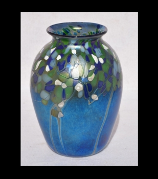Iridescent Blue Vase With Forest Design By Saul Alcaraz Blown Glass