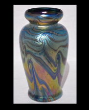 Iridescent Blue Vase With Red King Tut Design