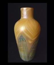 Iridescent Gold Vase With Pulled Feathers Design by Saul Alcaraz.