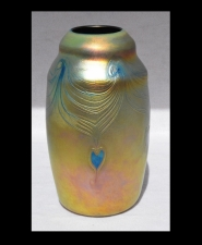 Iridescent Gold Vase With Blue Heart Design by Saul Alcaraz.