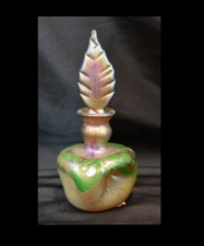 Gold luster Perfume bottle with Green Wave Design