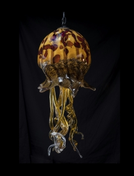 Gold Jellyfish With Red Stop Design Pendant Light