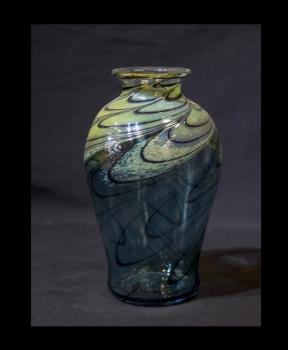 Aqua Marine & Gold Vase. Contemporary Colors.
