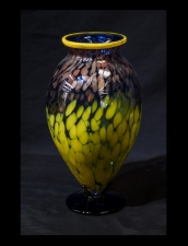 Blue Vase with Yellow/Gold Spot Design. Contemporary Colors.