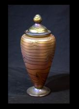 Gold Luster Urn with Blue King Tut Design.