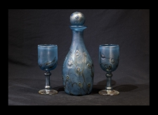Luster Aqua Marine Decanter and Goblets with Milifiore Design.