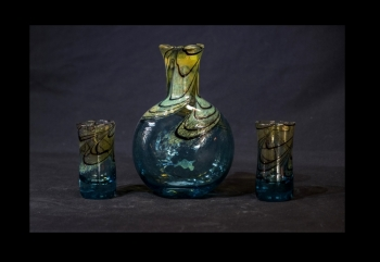 Aqua Marine & Gold Tequila Decanter with 2 shot glasses.