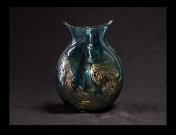 Aqua Marine Owl Vase with Gold Wave Design. Contemporary Colors.