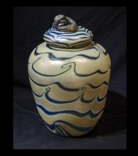 Gold Luster Vase with Blue King Tut Design