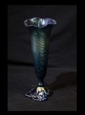 Blue Luster Vase with Red King Tut Design.