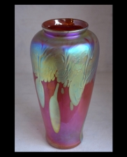 Iridescent Salmon Vase with Gold Lava Design