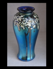 Blue Aurene Vase with Tree Design.