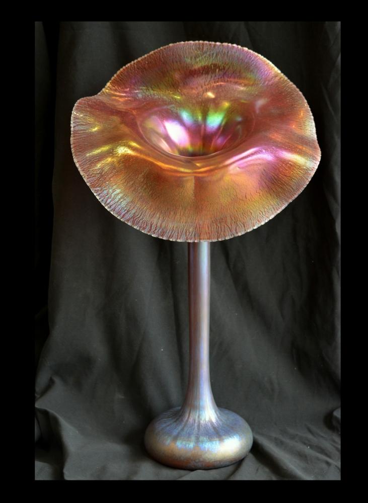 Gold Pink Aurene Jack In The Pulpit Vase Santa Barbara Art Glass