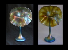 Iridescent Blue & Gold Jack in the Pulpit Vase