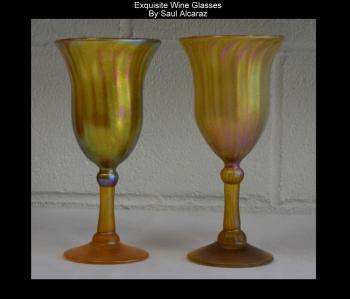 Gold Aurene Wine Glasses. Set of 2