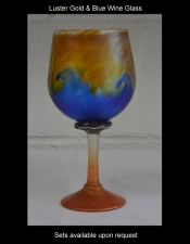 Gold Aurene Wine Glass with Blue Wave Design