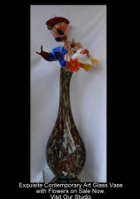 Red Gold & White Contemporary Vase with Flowers