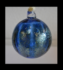 Cobalt Blue Ornament with Silver Rib Design.