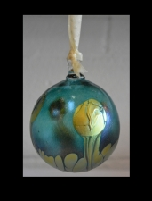 Aqua Marine Ornament with Gold Wave Design.