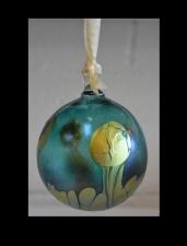 Aqua Marine Ornament with Gold Wave Design.