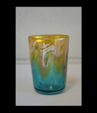 Gold Luster Drinking Glass with Turquois Wave Design