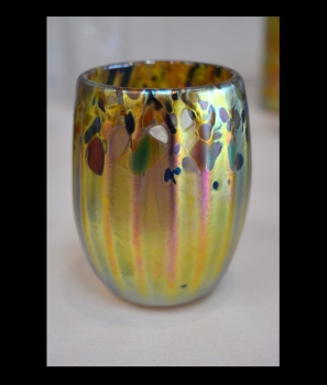 Gold Luster Drinking Glass with Multicolor Spot Design