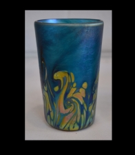 Iridescent Aqua Marine Drinking Glass with Gold Wave Design