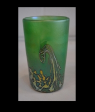 Luster Green Drinking Glass with Gold Wave Design.