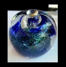 Iridescent Blue Paperweight Urn with lid