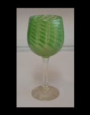 Iridescent Lime Green Wine Glass With Murano Design.