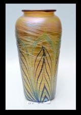 Gold Luster Vase with Red & Green Pulled Feather Design. Handblown