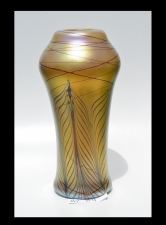Gold Luster Vase with Red Pulled Feather Design.