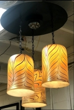 Gold Luster Shade With Red Pulled Feather Design