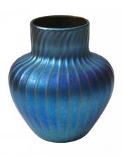 Blue Luster Vase With Rib Design - V46 - Hand Blown Glass Vases. Glass Art for Sale