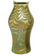 Iridescent Green/Gold King Tut Design - V47 - Hand Blown Glass Vases
