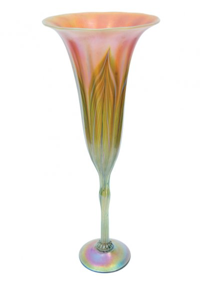 Iridescnet White/Green Flower form - G02 - Hand Blown Glass Flower form
