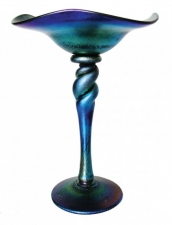 Blue Luster Flower Form, Hand Blown Glass Bowl. Glass Art for Sale