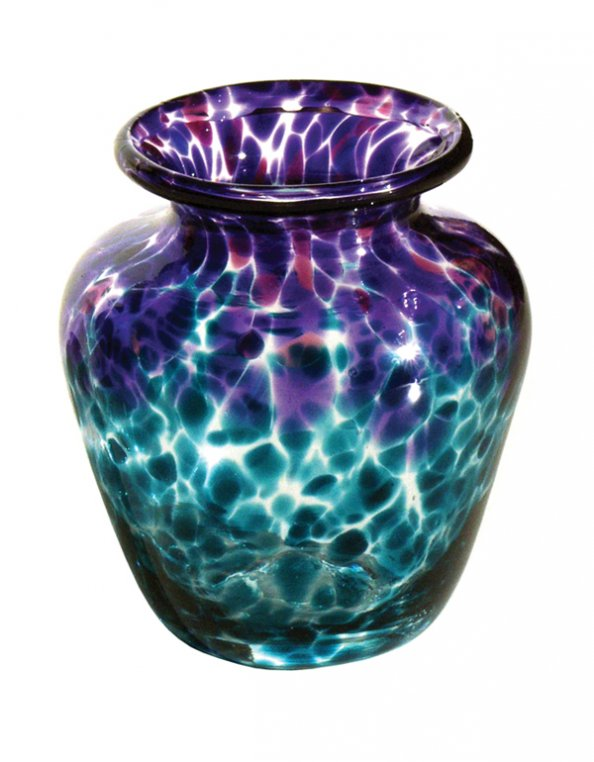 Purple aquamarine clear vase V48 Hand Blown Glass