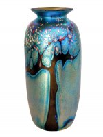 Blue Luster Vase Forest Design - V50 - Hand Blown Glass Vases