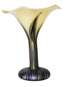 Iridescent White/Silver/Black Trumpet Vase - V51 - Hand Blown Glass Vases