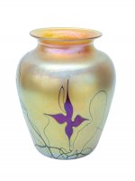 Gold Luster Vase With Red Flower/Vines - V53 -  Hand Blown Glass Vases