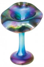 Blue Luster Jack In The Pulpit - J02 - Hand Blown Glass Art