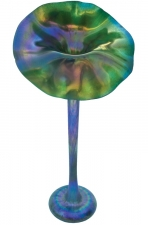 Iridescent Green Jack In The Pulpit - J03 - Hand Blown Glass Art