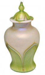 Iridescent White/Green Pulled Feathers - U01- Hand Blown Urn Glass Art