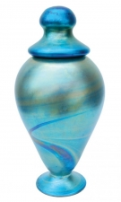 Blue Luster Urn - U02 - Hand Blown Urn Glass Art. Glass Art for Sale