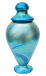 Blue Luster Urn - U02 - Hand Blown Urn Glass Art